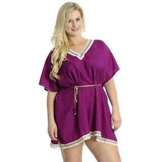 La Leela SMOOTH RAYON WOMEN Cover up Bikini Swimwear TUNIC Beach Dress Purple