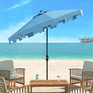 Safavieh Zimmerman Blue Aluminum Tilt And Crank 9 Foot Crank Market Patio  Umbrella With Flap