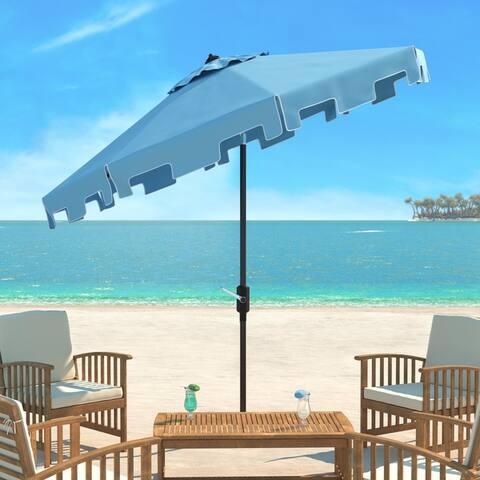 SAFAVIEH Zimmerman Blue Aluminum Tilt and Crank 9-foot Crank Market Patio Umbrella With Flap