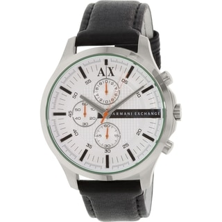 Armani Exchange Men's Black Leather Quartz Watch