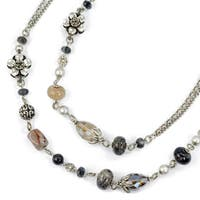 Sweet Romance Labradorite Gray Agate and Silver Flower Layering Necklace