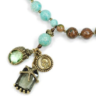 Sweet Romance Knotted Gemstone Beads Shell and Starfish Charm Necklace
