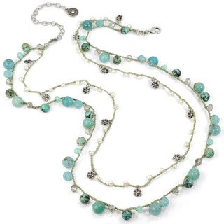 Sweet Romance Gemstone and Silver Beads Crochet Double Strand Necklace