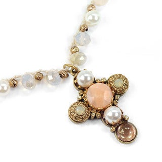 Sweet Romance Boho Beach Knotted Opal Bead and Pearl Cross Necklace