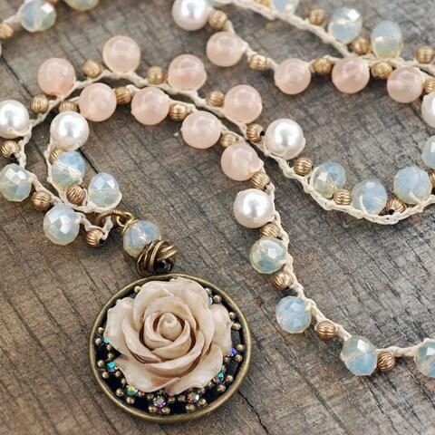 Sweet Romance Ivory Rose Boho Pearl Bead Beach Necklace