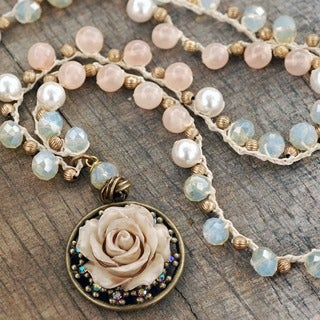 Sweet Romance Ivory Rose Boho Pearl Bead Beach Necklace
