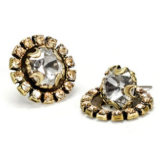Sweet Romance Crystal Stud And Halo Jacket Earrings.