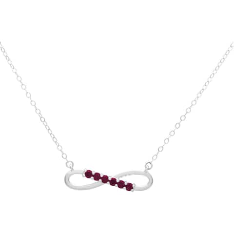 Sterling Silver Swarovski Birthstone Infinity Necklace