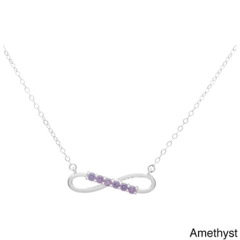 Sterling Silver Swarovski Birthstone Infinity Necklace