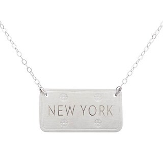Sterling Silver US State License Plate Necklace