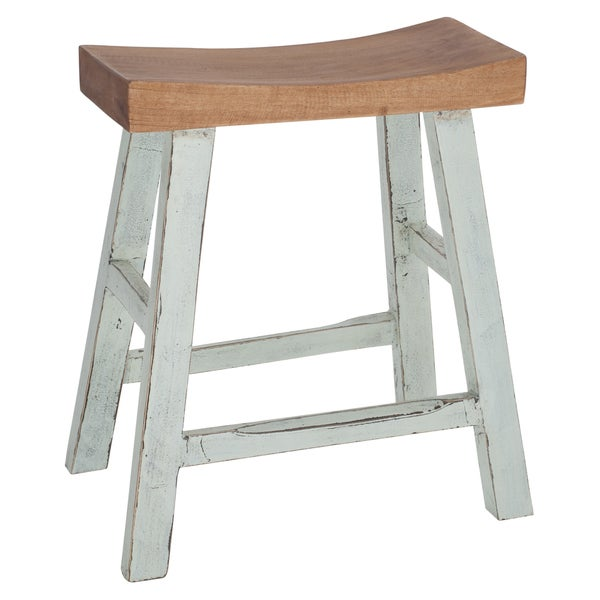 Shop Two-Tone Curved Solid Wood Stool