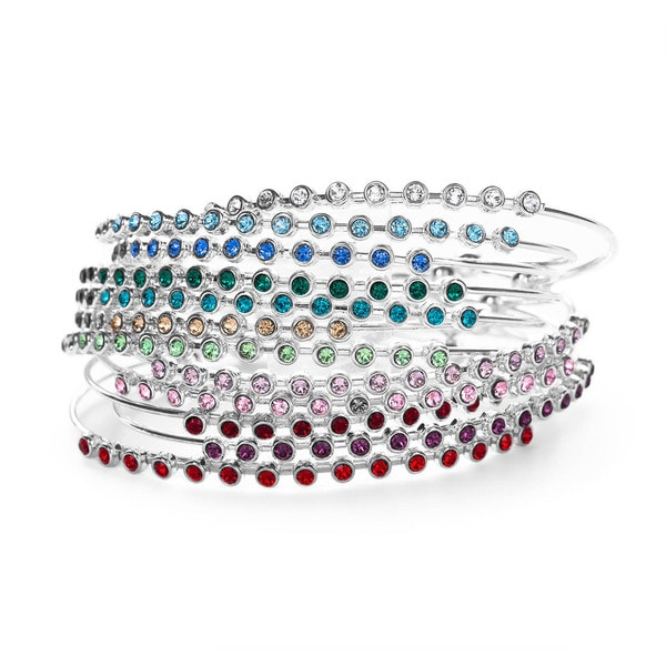 3579d7577 Isla Simon with Swarovski Elements Silver Plated Crystal Birthstone Bangle  Bracelet