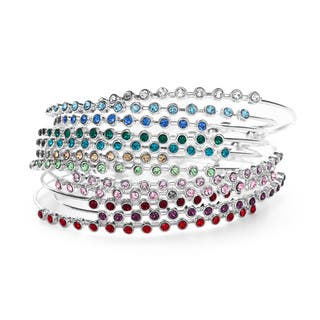 Isla Simon with Swarovski Elements Silver Plated Crystal Birthstone Bangle Bracelet|https://ak1.ostkcdn.com/images/products/10168055/P17296118.jpg?impolicy=medium