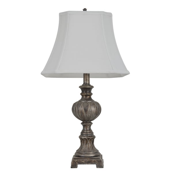 25-inch Carved Silver-tone Table Lamp