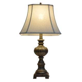 Bon 25 Inch Carved Silver Tone Table Lamp
