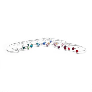 Isla Simone Silverplated Crystal Birthstone Bangle Bracelet