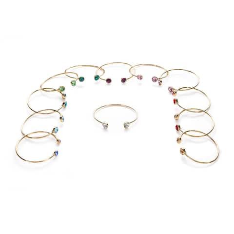 Isla Simon Gold Plated Birthstone 10Mm Crystal Bangle Bracelet With Swarovski Element Crystals