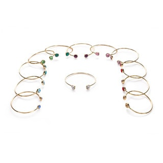 Isla Simon Gold Plated Birthstone 10Mm Crystal Bangle Bracelet With Swarovski Element Crystals