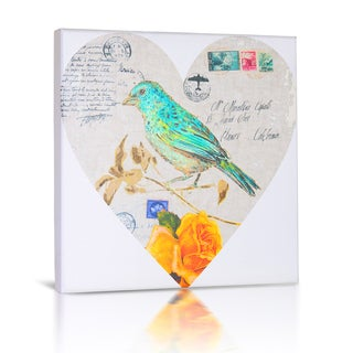 'Bird in Heart I' Canvas Gallery Wrapped Art