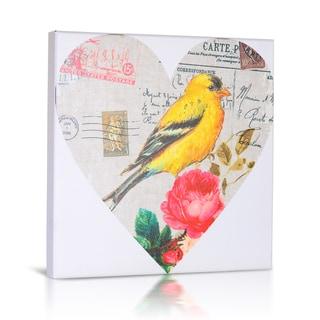 'Bird in Heart II' Canvas Gallery Wrapped Art