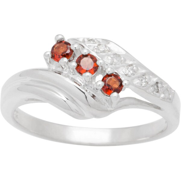 Sterling Silver Round Birthstone 3-stone Bypass Ring