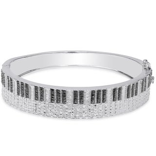 Finesque Silver Overlay Diamond Accent Piano Bracelet