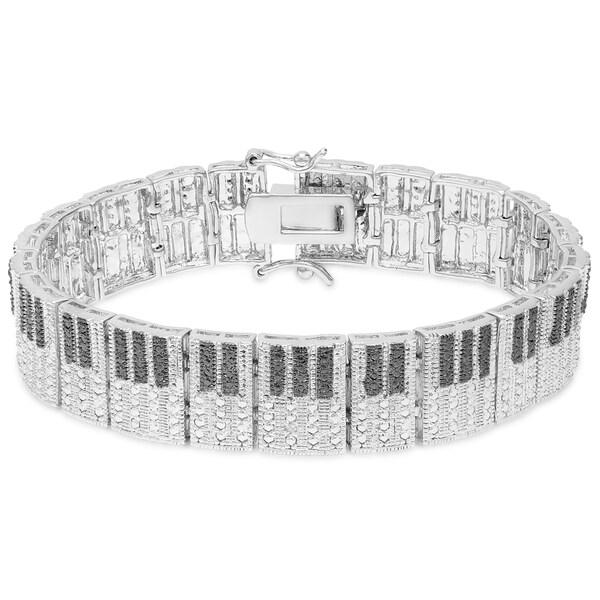 Finesque Silver Overlay Diamond Accent Piano Bracelet