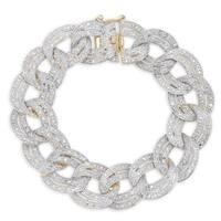Finesque Silver 1ct TDW Diamond Chain Link Bracelet