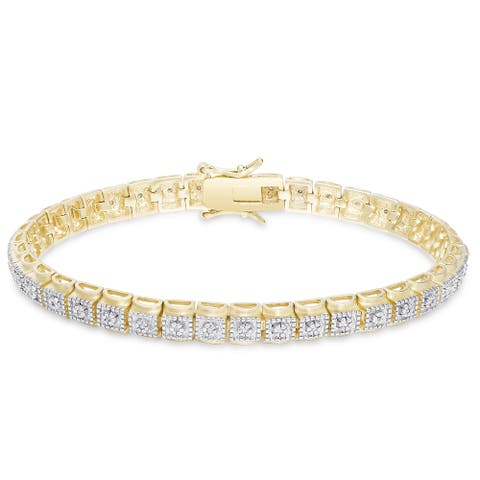 Finesque Gold Over Sterling Silver 2/5 ct TDW Diamond Tennis Bracelet