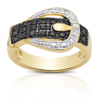 Finesque Gold Overlay Diamond Accent Tri-Color Buckle Ring