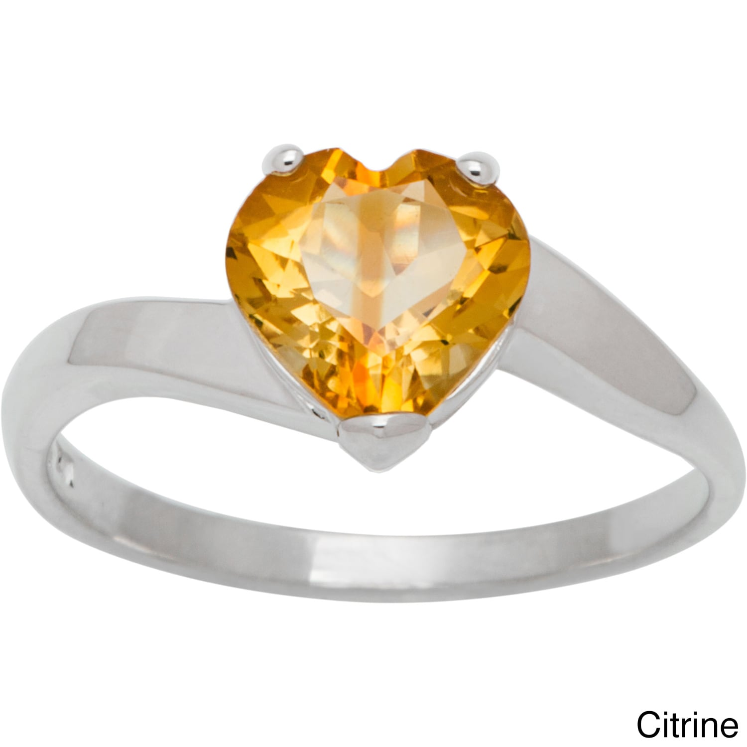 Chroma Sterling Silver Heart Birthstone Ring (Size 5, cit...