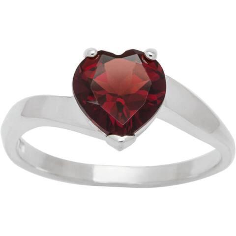 Sterling Silver Heart Birthstone Ring