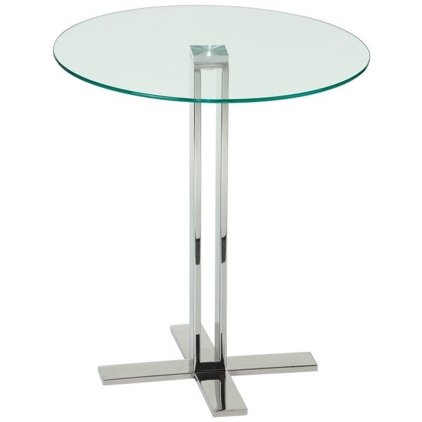 Cortesi Home Solen Round Clear Gl End Table