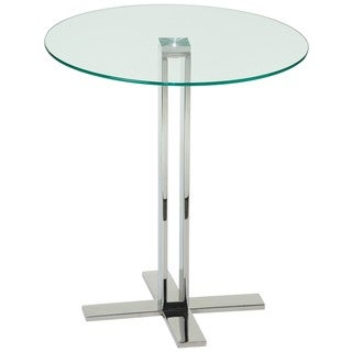 Cortesi Home Solen Round Clear Glass End Table