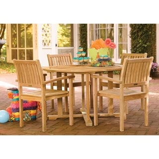 Oxford Garden 5-piece Set 48-inch Round Dining Table with Warwick Stacking Armchair
