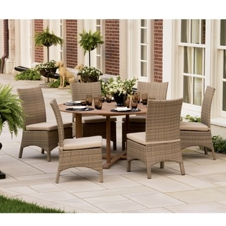 Oxford Garden 67 inch Round Table and Six Torbey Sidechairs