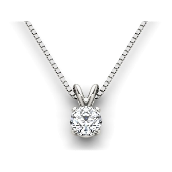 De Couer 14k White Gold Diamond Magnificent Solitaire Necklace - White H-I