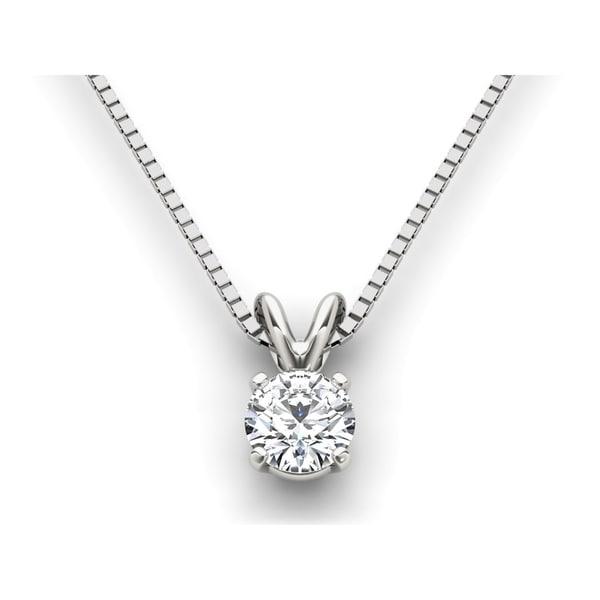 De Couer IGI Certified 14k White Gold Diamond Magnificent Solitaire Necklace - White H-I