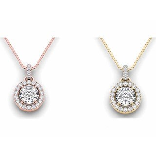 De Couer 14k Gold 1 1/4ct TDW Diamond Halo Necklace (H-I, I2)