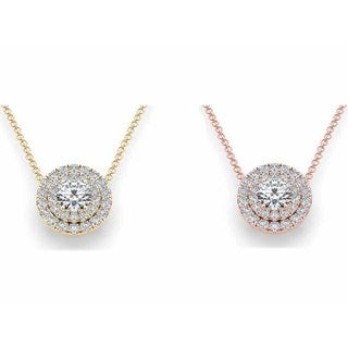 De Couer 14k Gold 1 3/4ct TDW Diamond Double Halo Necklace (H-I, I2)