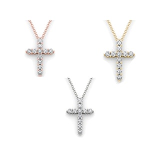 De Couer 14k Gold 1 1/4ct TDW Diamond Cross Necklace (H-I, I2)