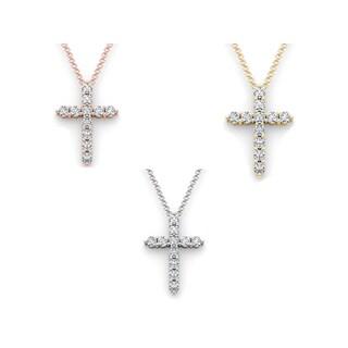 De Couer 14k Gold 1 1/4ct TDW Diamond Cross Necklace