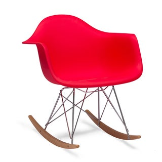 Baxton Studio Dario Red Plastic Mid-century Modern Rocking Chair
