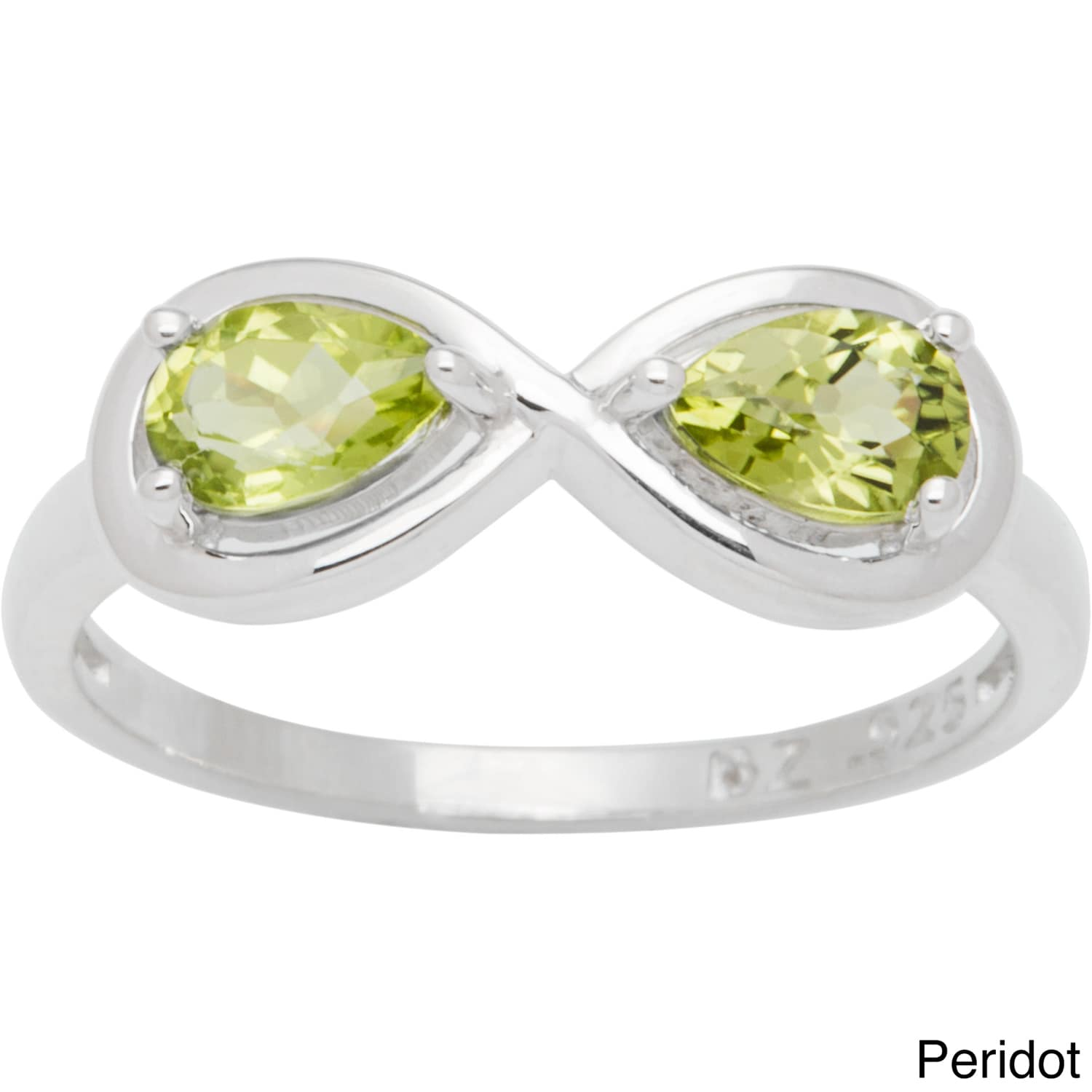 CHROMA Sterling Silver Pear-cut Birthstone 2-stone Infini...