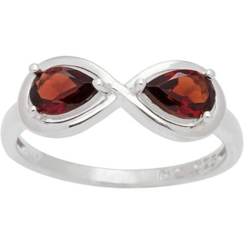 Sterling Silver Pear-cut Birthstone 2-stone Infinity Ring