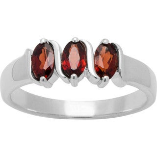 Sterling Silver Oval-cut Birthstone 3-stone Ring