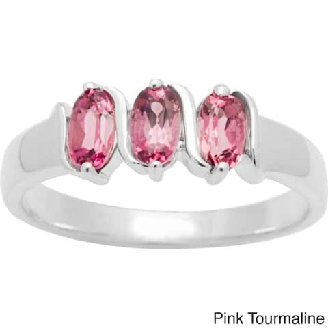 Sterling Silver Oval-cut Birthstone 3-stone Ring