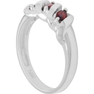 Sterling Silver Marquise-cut Birthstone 3-stone Ring