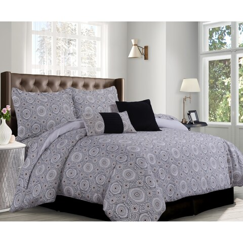 Maldives Cotton Black/Cashmere Medallion 5-piece Duvet Cover Set