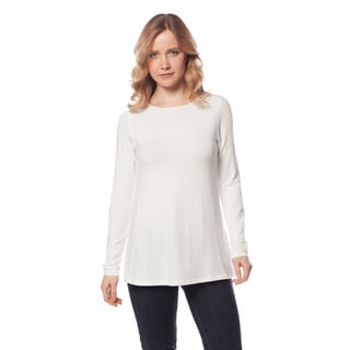 AtoZ Women's Modal Long Sleeve Crew Neck Flare Top